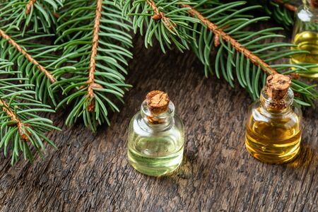 Bottles of essential oil with fresh spruce branches