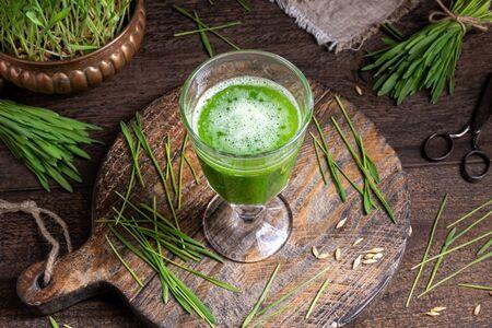 Barley grass juice and fresh blades Stock fotó