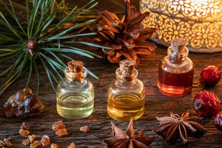 Christmas mix of essential oils with frankincense, myrrh, star anise, pine and dried rose hips