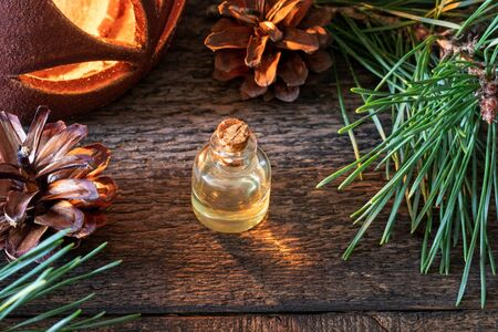 A bottle of essential oil with fresh pine branches and an aroma lamp in the background