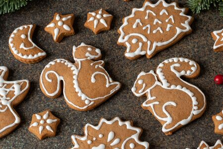 Homemade Christmas gingerbread cookies in the form of squirrels