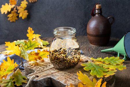 Preparation of a alcohol tincture from oak bark Banco de Imagens