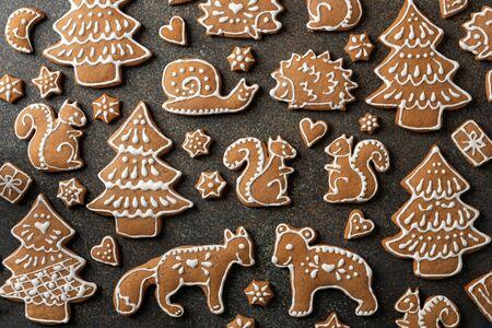 Christmas gingerbread cookies on a dark background Banco de Imagens