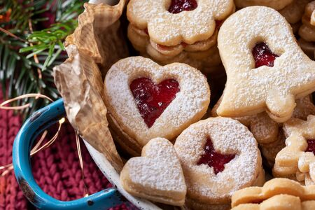 Closeup of traditional Linzer Christmas cookies in a pot Stock Photo