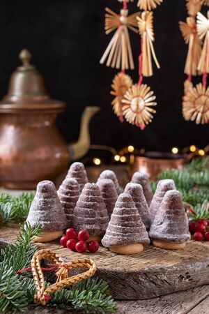 Beehives or wasp nests - traditional Czech no-bake Christmas cookies Reklamní fotografie