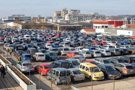 PRAGUE, CZECH REPUBLIC - FEBRUARY 8, 2020: Parking lot at the flea market U Elektry in Vysocany