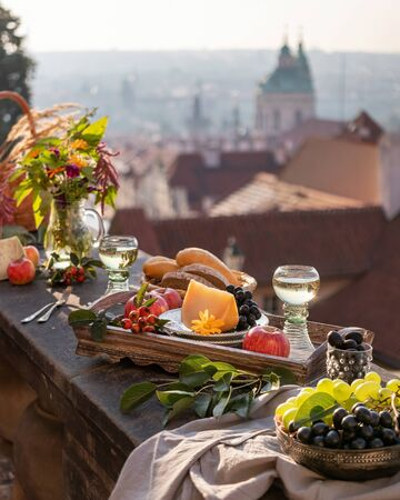 Breakfast with a view of the roofs of Mala Strana in Prague, Czech Republic