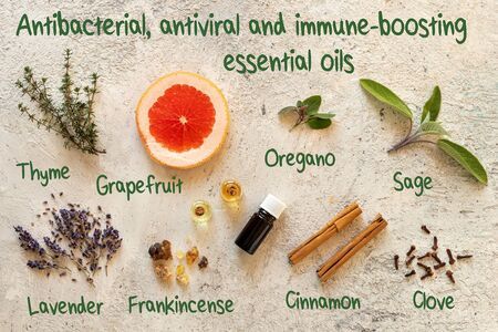 Antibacterial, antiviral and immune-boosting essential oils, with inscriptions Reklamní fotografie