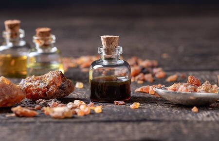 A bottle of myrrh essential oil and resin