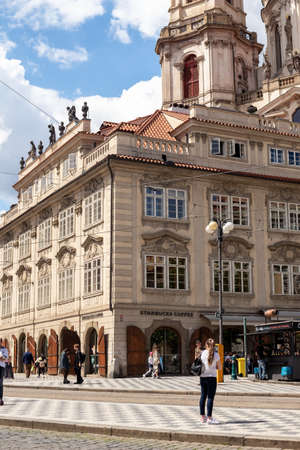 PRAGUE, CZECH REPUBLIC - JULY 12, 2020: Starbucks coffee at the Malostranske namesti