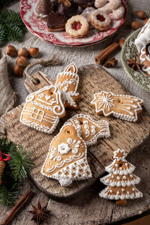 Decorated gingerbread Christmas cookies on a table 写真素材