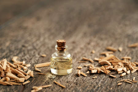 A bottle of essential oil with cedar wood chips, with copy space