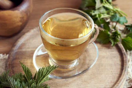 Herbal tea in a transparent glass cup with fresh stinging nettles