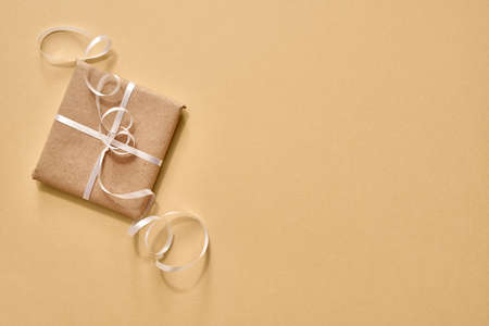 Christmas present wrapped in ecological recycled paper with copy space - zero-waste concep