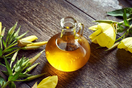 A bottle of evening primrose oil with fresh blooming plant