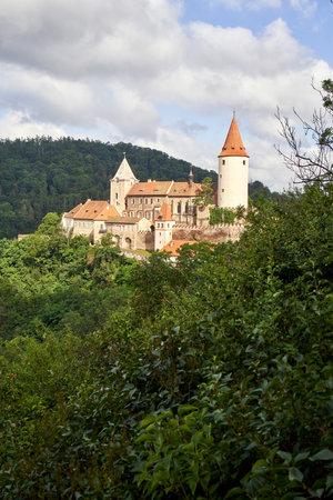 KRIVOKLAT, CZECH REPUBLIC - JULY 18, 2021: View of the castle in sunny weather