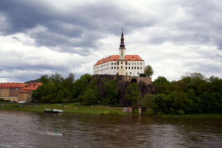 DECIN, CZECH REPUBLIC - MAY 22, 2021: View of the castle and the Elbe river
