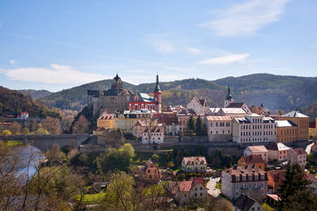 LOKET, CZECH REPUBLIC - MAY 9, 2021: Panorama of the town and the castle in spring Editorial