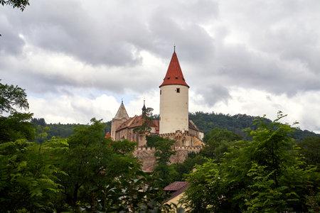 KRIVOKLAT, CZECH REPUBLIC - JULY 18, 2021: View of the castle and surrounding nature
