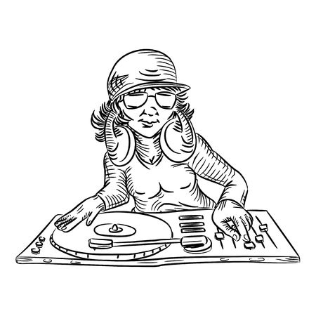 deejay outline Vector