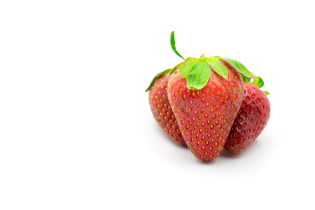 strawberrys: 3 Strawberrys red, green leaves on a white background isolated.
