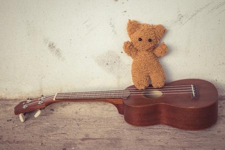 storytime: teddy bears and ukulele with shadow edge, alone .vintage tone.