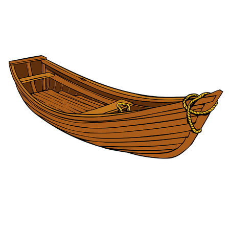 Simple cartoon Wooden boat or canoe for fishing Vector