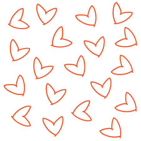 Hand drawn doodle seamless pattern of hearts colored line icon print.