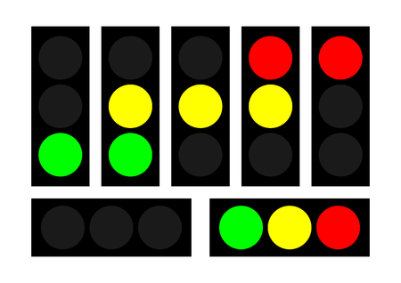 moderate: Essential and moderate vector design of most common traffic lights. Illustration