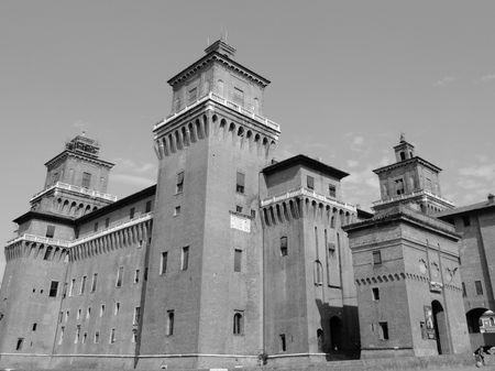 grey scale: Old medieval castle situated in Ferrara, Italy. Grey scale