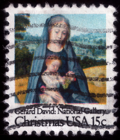 uploaded: Virgin Mary with baby Jesus, painting by Gerard David. Christmas postage stamp, uploaded in 2014