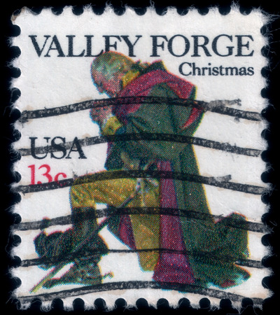 forge: A gentlemen prays in Valley Forge. Christmas postage stamp