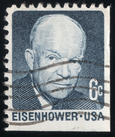 eisenhower: Post stamp printed in USA in 1970 shows a portrait of the President Dwight Eisenhower Editorial