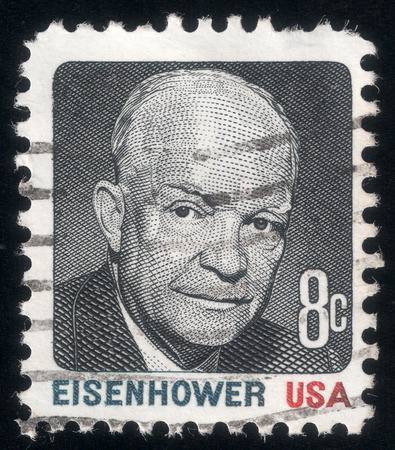 eisenhower: Post stamp printed in USA in 1971 shows a portrait of the President Dwight Eisenhower Editorial