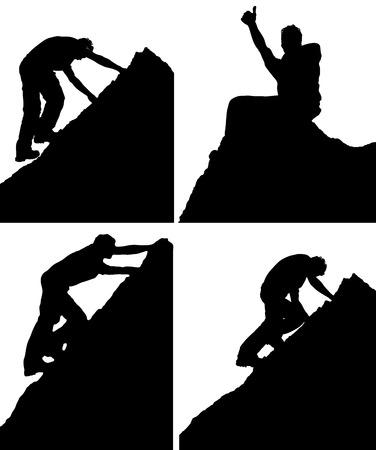 Série de quatre silhouettes vecteur noir et blanc d'un homme qui escalade un rocher ou montagne pic montrant divers postes de vue de côté et assis sur le sommet de célébrer son exploit Vecteurs