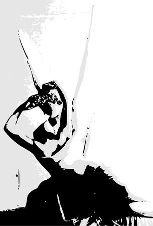 Minimalist pop skatch in monochrome of the neoclassical sculpure Cupids kiss by Antonio Canova. Vector, illustration image. Illustration