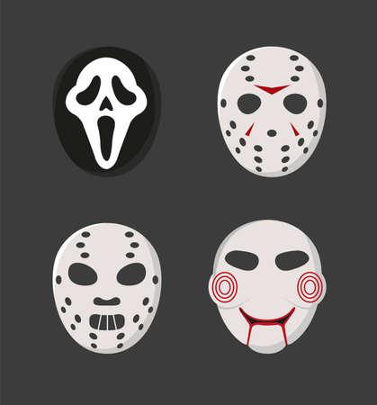 Horror movie characters masks set. Masks like ghost face, Jason Voorhees, Hannibal, Saw. Vector illustration of a set of masks for halloween. Vector Illustration