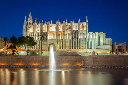 Palma Cathedral and fountain illuminated in the evening, Palma, Mallorca, Spain.
