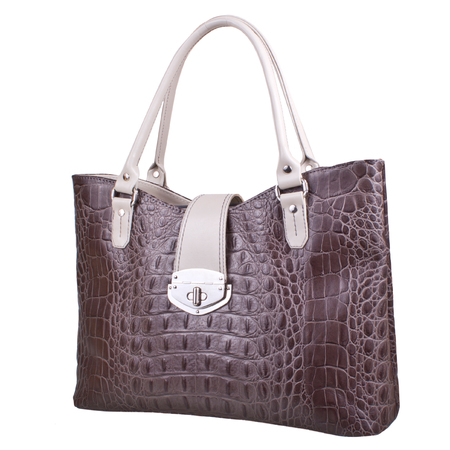 female bag made of leather embossed with a crocodile