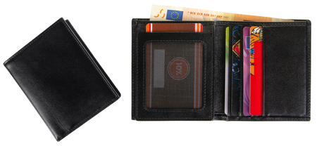 Closed and open black leather wallet filled with 50 euro isolated on white background Banco de Imagens - 124929075