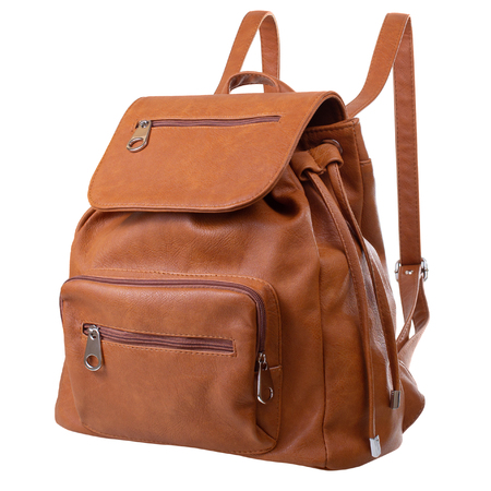 Dark orange backpack isolated on white background in three-quarter view Stock Photo