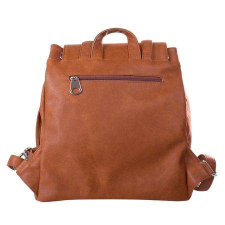 Back side of dark orange backpack isolated on white background Stock Photo