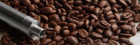 Concept of vape coffee flavor. Horizontal photo Banner Banco de Imagens