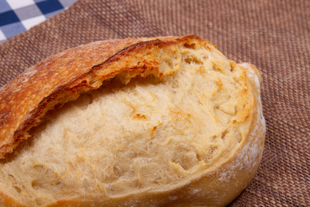 close-up loaf of bread with an appetizing crust