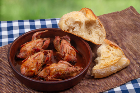 Rustic dinner outdoor. Roasted quail meat and white bread