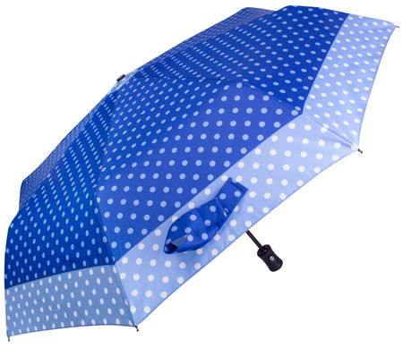 Blue Dotted umbrella isolated on white background. Side view Banco de Imagens - 124929454