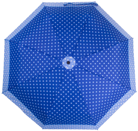 Blue Dotted umbrella isolated on white background. Top view Banco de Imagens - 124929476