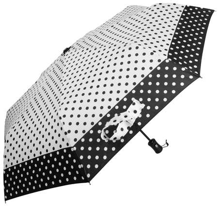 Black and white Dotted umbrella isolated on white background. Side view Banco de Imagens - 124929479