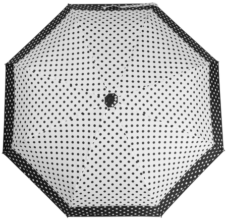 Black and white Dotted umbrella isolated on white background. Top view Banco de Imagens - 124929481