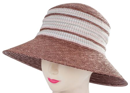 straw hat on mannequin isolated on white background